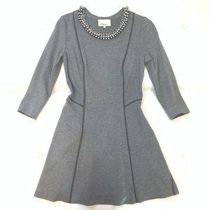 3.1 PHILLIP LIM Jeweled Neck Short Dress Sz 6